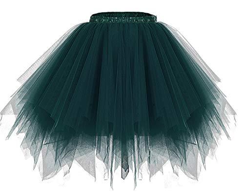 bridesmay Damen Tüllrock 50er Tütü Rock Kurz Ballett Unterrock Karneval Kostüm Crinoline Petticoat Tutu Dark-Green M
