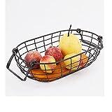 AMYHY Cesta de almacenamiento de hierro forjado de escritorio, cestas de malla con mango de madera, decoración retro del hogar, para armarios de cocina, despensa (tamaño: 28 x 16,5 x 8 cm)