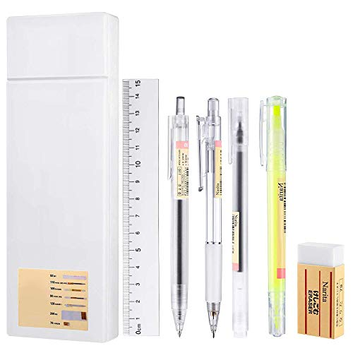 Gobesty Set di matite meccaniche, confezione da 7 pezzi di cancelleria con astuccio in plastica Gel inchiostro penna a sfera penna a sfera Righello per cancelleria ufficio scuola studente