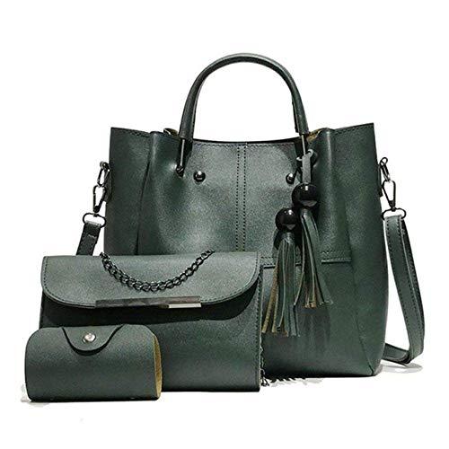 DAQ Bolsos de mano superior para mujer, 3 piezas, bolso de piel con borla, bolsa de mensajero con asa superior, color verde