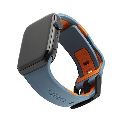 Urban Armor Gear Civilian Brazalete para Apple™ Watch 42mm / 44mm (Watch SE, Series 6, Series 5, Series 4, Series 3, Series 2, Series 1, Correa Silicona Blanda, Cierre de Acero) Azul / Naranja