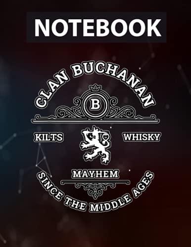 Clan Buchanan Scottish Kilt Highland Games Large 8.5'x11'' / College Ruled / Notebook Gift for Birthday