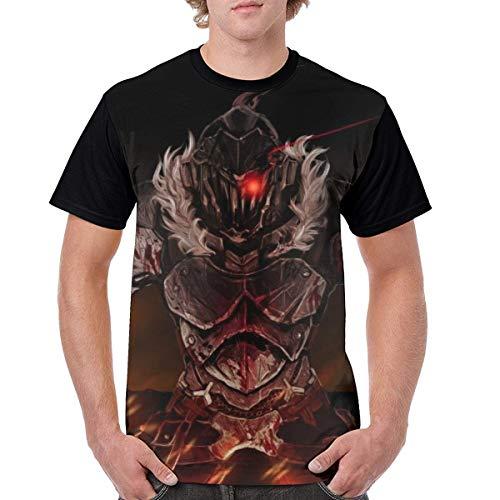男性用ゴブリンスレイヤーアニメ3Dプリントカジュアル半袖Tシャツ漫画黒Tシャツ男性用