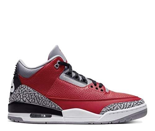 Nike Herren Air Jordan 3 Retro U Basketballschuh, Uni rot/Uni rot-zementgrau, 42 EU