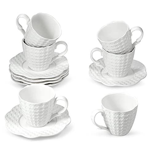 suntun Juegos de Cafe de Porcelana 12 piezas, 170ml Juegos de Tazas de Café y 5,6