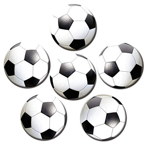 Kühlschrankmagnete Fußball 6er Deko Geschenk Set Magnete lustig für Fußballer Kinder Jungs Männer stark groß 50mm rund Schwarz Weiß