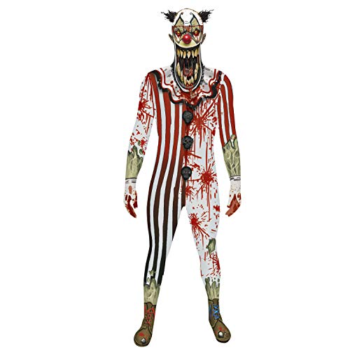 Morphsuit Carnevale Halloween Pagliaccio Clown Jaw Dropper horror adulto