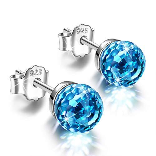 Alex Perry 6mm Pendientes Plata de Ley 925 Regalos de Cristal Regalo para niñas joyería Azul para Mujer día de San Valentín Navidad día de la Madre Regalos para mamá Esposa Regalos de cumpleaños