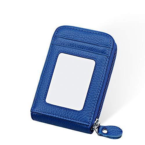 WWFCI portemonnee van echt leer voor creditcards, portemonnee, kort, opvouwbaar, voor dames, Blanco Y Gris (zwart) - 6979012385440
