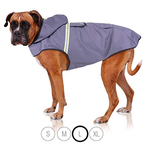 Bella & Balu Hunderegenmantel – Wasserdichter Hundemantel mit Kapuze und Reflektoren für trockene, sichere Gassigänge, den Hundespielplatz und den Urlaub mit Hund (L | Grau)