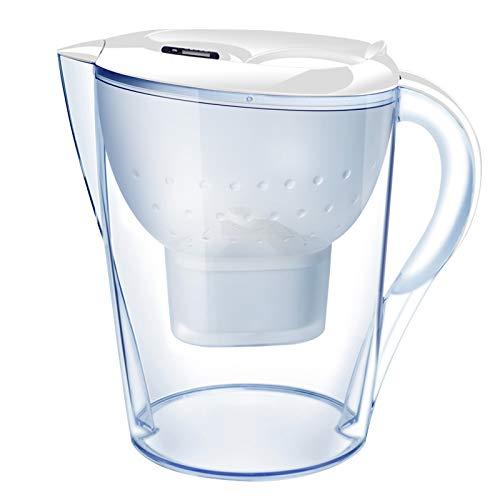 LYDIANZI Purificador De Agua Copas De Carbón Activado Filtro De Agua Jarra Eliminación De Olores Óxido Cloro Sin BPA Hervidor De Cocina De 3,5 litros(Color:Blanco)