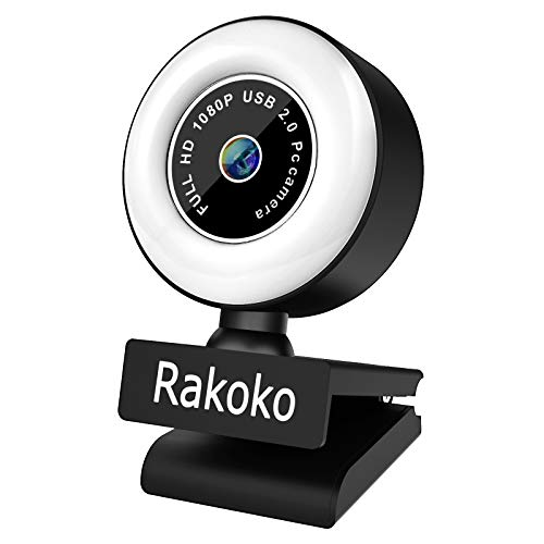 Rakoko 2020 Streaming Webcam with Light, 1080P FHD Computer Camera Gaming StreamCam Adjustable Brightness with Stepless Dimming, Web Camera for Mac Windows Laptop Desktop Gaming Xbox Skype Zoom OBS