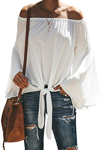 Actloe Women Off The Shoulder Solid Bell Sleeve Casual Tie Front Blouses and Tops White Small
