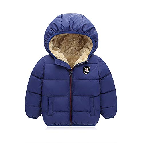 Bigzzia Baby Boys Girls Winter Coat, Warm Kids Toddlers Infants Simple Jacket Outwear Hoodie Autumn for 2-7 Y (110/4-5T, Blue)