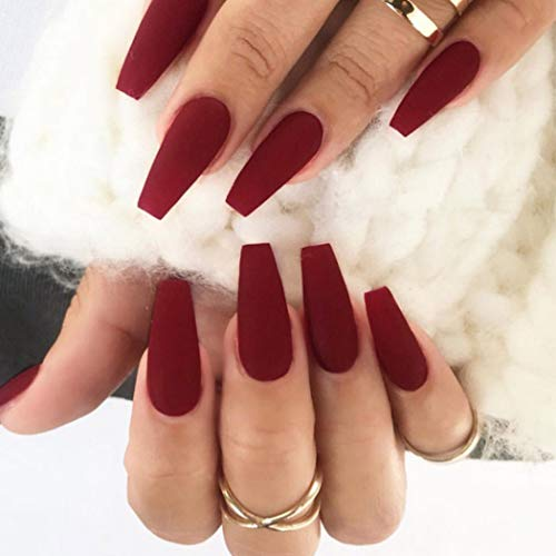Favelo Coffin Ballerina Press on Nails Red Long Acrylic Fake Nails Tips Matte Full Cover False Nails Accessories for Women and Girls 24pcs