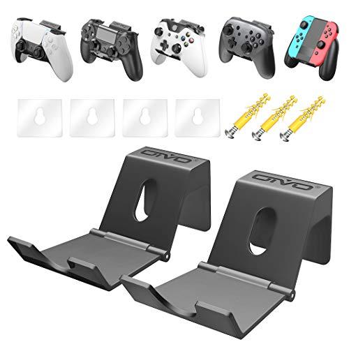 コントローラースタンド OIVO Switchウォールスタンド PS4壁掛けラック Switchラック ヘッドセット壁掛け ヘッドホンハンガー Switch/Lite/PS4/PS5/Xbox One/Xbox Series X & Sコントローラー収納 ナノテープ 釘ネジ付属 2個セット
