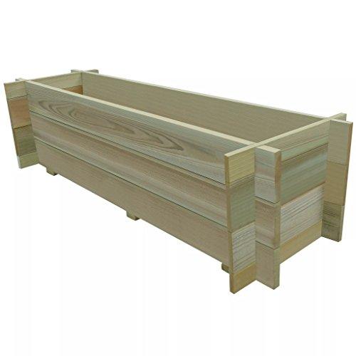 vidaXL Jardinera macetero de madera de pino impregnada 120 cm