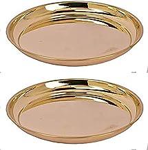 Skywalk Handmade Brass Puja Thali/Pure Brass Pooja Plate (Size-6 Inch) Set of 2