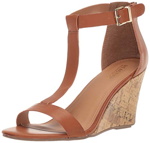 Kenneth Cole REACTION Women's Ava T-Strap Wedge Sandal, Luggage, 9.5 M US