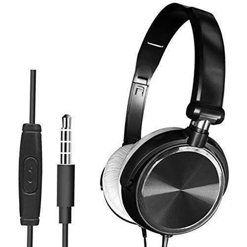 balikha Auriculares para Juegos con Cable Deep Bass Plegables de 3.5 Mm para Teléfono/Computadora - Negro