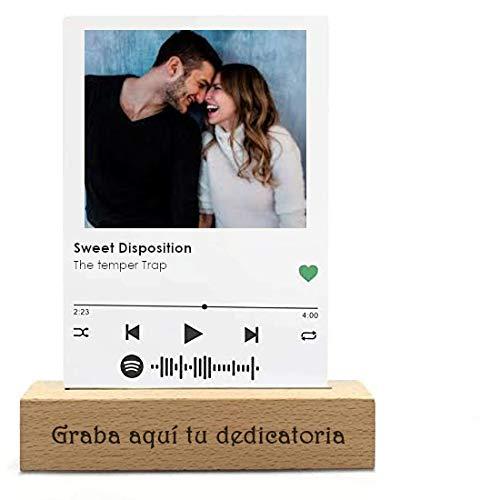 Placa Spotify Glass metacrilato o Madera, Tablero Musical Personalizado 10X15cm (Metacrilato)