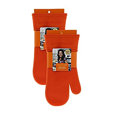 Rachael Ray Silicone Kitchen Oven Mitt with Quilted Cotton Liner, Orange 2pk