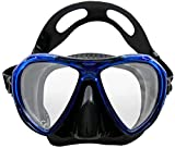 EVO Abaco Snorkel Dive Mask with Silicone Skirt and Strap with Tempered Glass Lenses and Easy Grip Nose Pocket for Scuba Diving, Snorkeling, Freediving and Scuba Mask (Black/Blue)