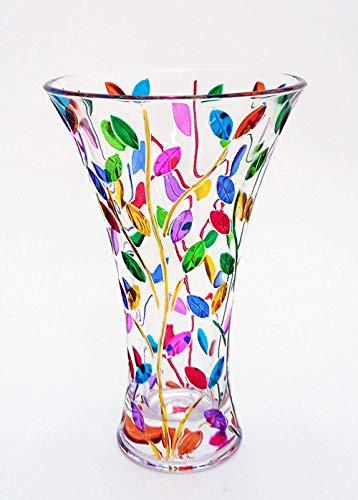 Laurus Vase groß 300 multicolor mix in handbemaltem Kristall Murano-Stil Venedig