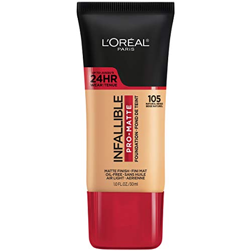 L'Oreal Paris Makeup Infallible Pro-Matte Liquid Longwear Foundation, 105 Natural Beige, 1 fl oz
