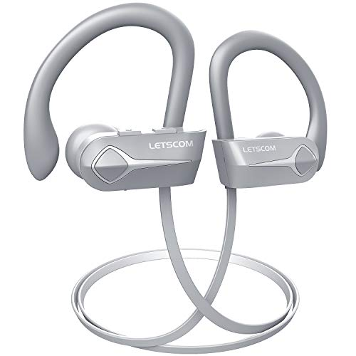 Image of the Letscom Bluetooth Headphones, 15Hrs Playtime Wireless 5.0 Earbuds IPX7 Waterproof Sport Running in-Ear Headsets w/Mic Stereo Sound Noise Cancelling for Work Home Office