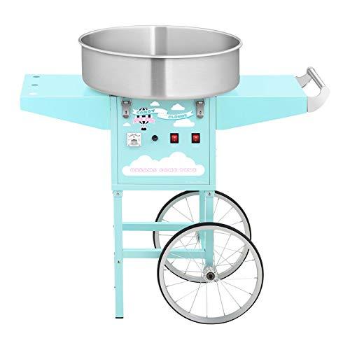 Royal Catering Máquina De Algodón De Azúcar con Carrito RCZC-1200-BG (1200 W, Ø 52 cm, 1 porción /30-60 s, Control separado del termostato y la rotación, incl. dosificador) Turquesa
