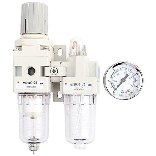 Separador de aceite y agua, BSPT 1/4 pulg, Filtro de compresor de aire, separador de aceite y agua, regulador de presión de aire con manómetro, con alta resistencia, resistencia a alta temperatura