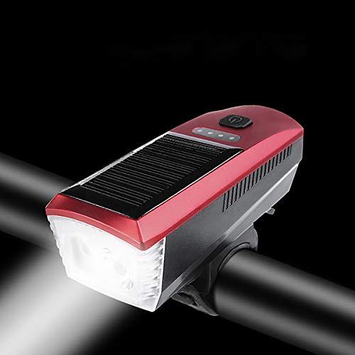 GAYBJ USB Recargable/Carga Solar súper Linterna de la Bici LED de luz de Bicicletas 350 Lumen Bright Luces Delanteras 4 Modo Luz Opciones Adapta a Todas Las Bicicletas, Camino, Montaña,Rojo