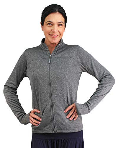 Global Women's Slim Fit Lightweight Full Zip Yoga Workout Jacket XL Gunmetal Heather
