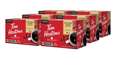 Tim Hortons Original Blend, Medium Roast Coffee, Single-Serve K-Cup Pods for Keurig Brewers, Recyclable, 72 Count (6 Boxes of 12ct)