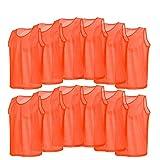 OhhGo Sport-Trainingsleibchen, Netzstoff, atmungsaktiv, Fußballtrikot für Kinder, Orange, 12...