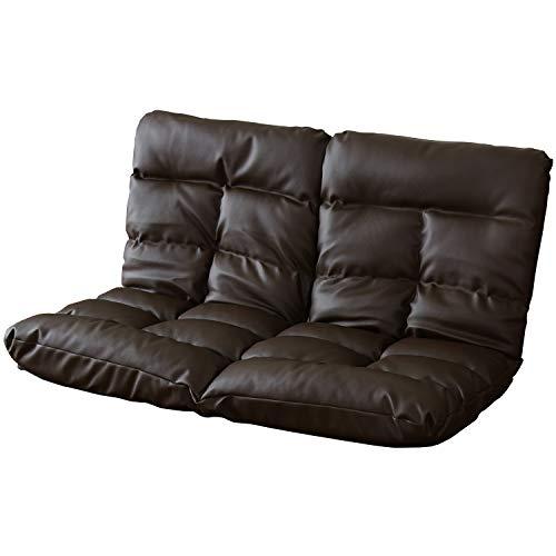DORIS 座椅子 2人掛け ローソファ フロアソファ 左右独立リクライニング 奥行調整可能な2箇所の14段階ギア搭載 レザー ブラウン ピオンセ