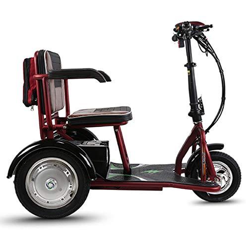 DONGBALA Erwachsene Elektro 3-Rad-Roller, Leichtkraft Radzyklus Scooter Walker Beständiger Und Einfach Für Ältere Oder Behinderte Menschen Leichte Red to Drive