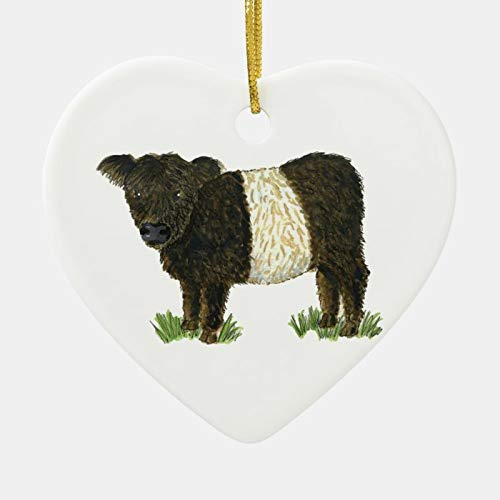 Adorno de cerámica colgante con forma de corazón de Navidad, Beltie con cinturón Galloway, adorno creativo y divertido como decoración de árbol de Navidad y regalo