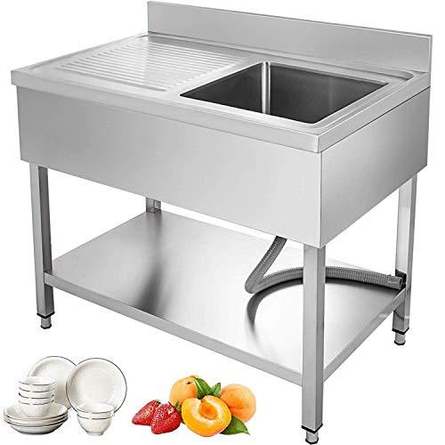 GIOEVO Lavello cucina 1 vasca Lavello in Acciaio Inossidabile Lavello Professionale a Piedi Lavello Singilo in Acciaio Inox Lavello da Cucina con Pannello 100 x 60 x 83,5 cm (Pannello a sinistra)
