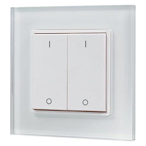 iluminize Design Wand-Dimmer Funk: mit Wippschalter zur Steuerung von weißen LEDs, 2 Zonen, 3V batteriebetrieben, KEIN Universal-Dimmer: Funk Controller ist erforderlich! (2 Lichtzonen)