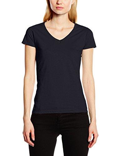 Fruit of the Loom Valueweight T-Shirt für Damen mit V-Ausschnitt, Blau - Deep Navy, 3 of L