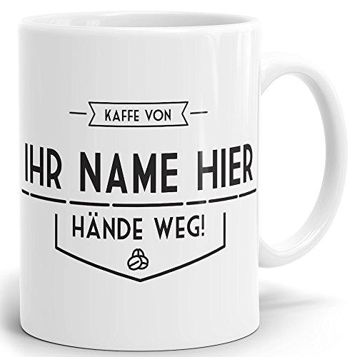 Mugvilla Namenstasse-Tasse-Becher-Kaffeetasse-mit Name-mit Namen individuell und persönlich Motiv Kaffeebohnen Vintage Tasse