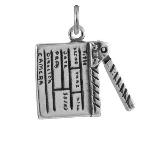 TheCharmWorks Sterling-Silber Film Klappe Charmanhänger | Sterling Silver Clapper Board Charm