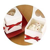 12個 クリアハート ポリ塩化ビニル ウィンドウペーパー シングルカップケーキ ケーキボックス 結婚式の記念品ギフトボックス キャンディや結婚式の記念品やギフトボックス SB-133