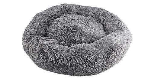 Hundebett, Schlafgewohnheit Beruhigendes Hunde Katzenbett, Pelzbezug - PP-Baumwolle - Rutschfestes Hundebett Klein, Maschinenwaschbar, Grau (60 * 60CM)