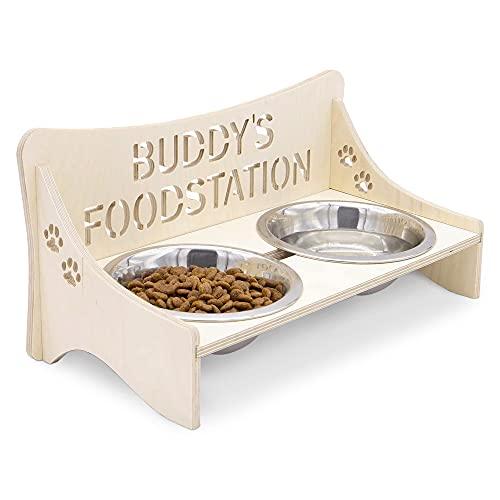 INEXTERIOR Futterstation - Futterbar für Hunde und Katzen - in Groß und Klein erhältlich - aus Birkenholz - personalisierbar - Made in Germany