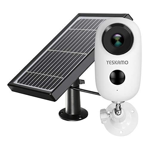 YESKAMO Cámara de Seguridad Inalámbrica Full HD 1080P con Batería Recargable - Energia Solar Cámara Vigilancia IP WiFi Exterior con Audio Bidireccional y Detección Movimiento (Panel Solar Incluido)