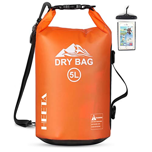 HEETA Waterproof Dry Bag for Women Men, 5L/ 10L/ 20L Roll Top Lightweight Dry Storage Bag Backpack with Phone Case for Travel, Swimming, Boating, Kayaking, Camping and Beach (Orange 5L)