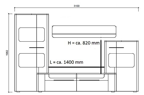 trendteam LU00202 Wohnwand Wohnzimmerschrank Weiss Hochglanz, Absetzungen schwarz, BxHxT 310 x 198 x 47 cm - 5